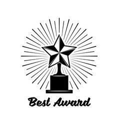 black trophy awards with star icon isolated on vector image