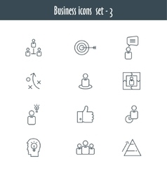 Flat line icons set of business meeting vector