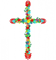 flowers cross vector image