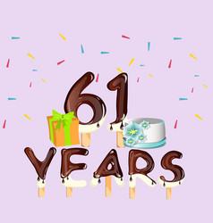happy birthday 61 years card vector image