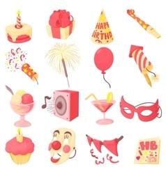 Happy birthday icons set cartoon style vector