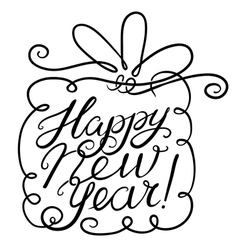 Happy New Year lettering with gift vector image vector image