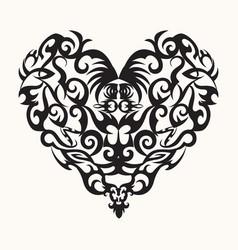 isolated black creative design heart tattoo vector image