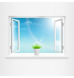 Open White Window With Flowerpot vector image