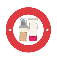 red circular border with spray with cream bottle vector image