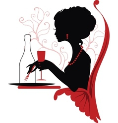 Silhouette of woman relaxing in restaurant vector image vector image