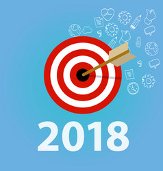 2018 new year resolution and business target dart vector image