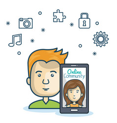 man community online smartphone with app media vector image