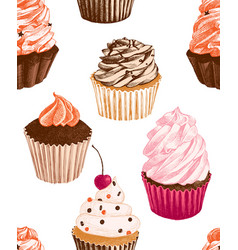 seamless pattern with hand drawn cupcakes vector image