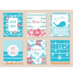 Summer Ocean and Beach Posters and Cards vector image vector image