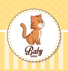 baby shower card invitation with cute tiger vector image