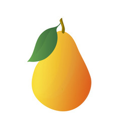 cartoon yellow pear with leaf vector image vector image