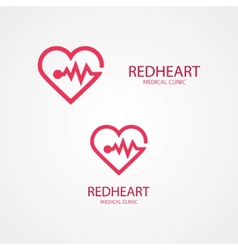 Combination of heart and pulse logo vector image
