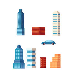 flat cartoon building skyscrapers set vector image