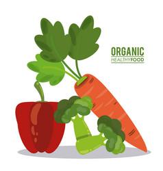 Organic healthy food pepper broccoli and pea vector