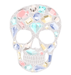 Skull with gemstones pattern vector image vector image