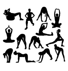 stretching and exercise silhouettes vector image