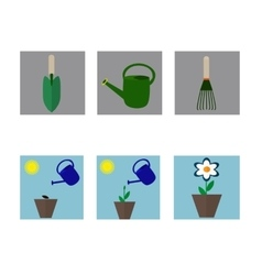 A set of flat icons on gardening vector image