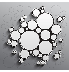 Abstract background with black and white circles vector image