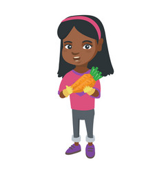 african-american girl holding fresh carrot vector image