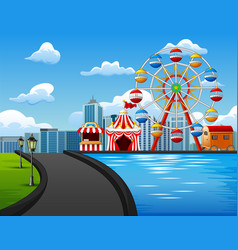 Amusement park with ferris wheel o vector