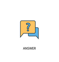 answer concept 2 colored line icon simple yellow vector image