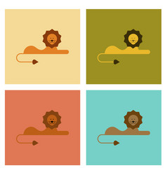 Assembly flat icons nature cartoon lion vector
