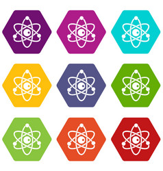 Atomic model icon set color hexahedron vector