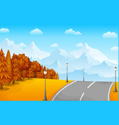 autumn landscape with mountains and road vector image