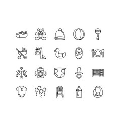 Baby icon collections with hand drawn collections vector