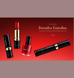 banner with a female collection makeup vector image