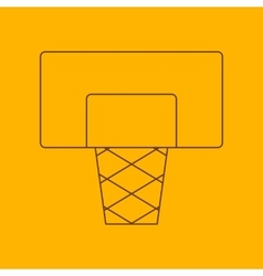 Basketball shield line icon vector