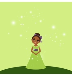 Beautiful cartoon princess on green background vector