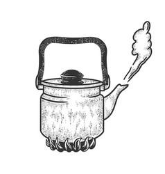 boiling kettle sketch vector image