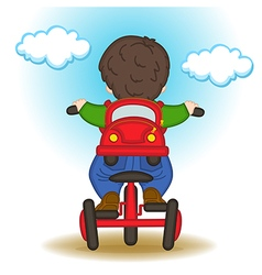 Boy with backpack in form of car rides bicycle vector