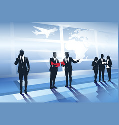 business team silhouette in airport businesspeople vector image