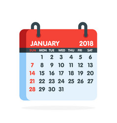 Calendar for 2018 year full month of january icon vector