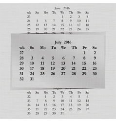 calendar month for 2016 pages July vector image