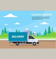 cargo truck van on road with mountains background vector image
