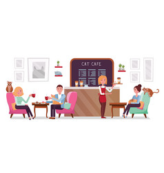 cat cafe shop people single and couple relaxing vector image
