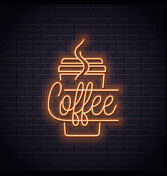 coffee cup neon logo take away coffee to go vector image