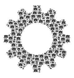Cog mosaic of kitty icons vector