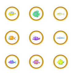 color fish icons set cartoon style vector image