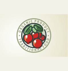 cranberry logo design food organic vector image