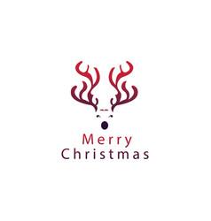 creative logo christmas symbol reindeer color vector image