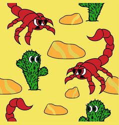 Cute cactus and angry scorpion in dessert vector