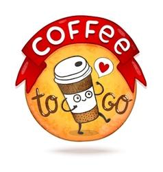 Cute cartoon coffee badge vector
