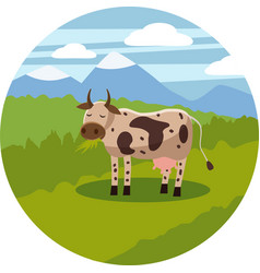 cute cartoon cow on background landscape vector image