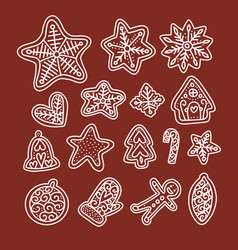 cute gingerbread doodles for christmas hand drawn vector image