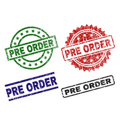 Damaged textured pre order seal stamps vector